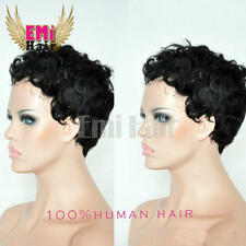 EMUK06 Hot Sale Brazilian Human Hair Bob Type Short Curly Wigs for Black Women