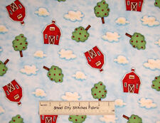 Springs Farm House Barn Toss Red Barns Apple Tree Cloud Blue Cotton Fabric YARD