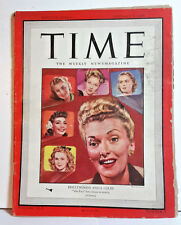 Jan 8,1945 TIME Magazine- Hollywood's Anita Colby on Cover- News/Photos/Ads  F/G