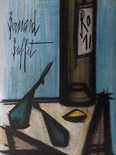 Bernard Buffet - lithographie signée/référencée  Nature morte bouteille #MOURLOT