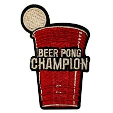 Beer Pong Champion Embroidered Iron On Badge Applique Patch KN 399B
