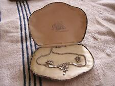 Vintage Phyllis Originals Sterling Rhinestone Necklace & Earrings Set with Box