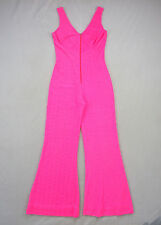 Vtg Hot Pink Plush Terry Cloth Texture Jumpsuit Bell Bottom Flare Pants Sm Tall