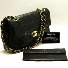 Authentic CHANEL Chain Shoulder Bag Leather Black Flap Quilted Lambskin Case 922