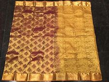 Kanchipuram Indian Silk Saree Bollywood Diwali Sari Chandan Terracotta Gold