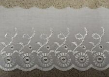 Broderie Anglaise Flat Lace Trim White or Cream  25 40 50 75 100mm BAF3047