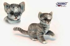 Hansa Toys Grey and White Kitten Cat 6493 Plush Stuffed Animal New