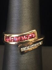 Stunning 14k Yellow Gold Ring with Rubies and Diamonds