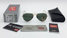 AUTHENTIC RAY BAN AVIATOR GOLD SUNGLASSES RB3025 L0205 GREEN G-15 58MM MEDIUM