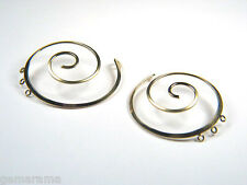 14/20k Gold Filled Mirrored Spiral Shape Earring Findings Connectors Links Large