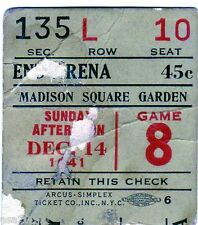 1941-1942 MONTREAL CANADIENS @ NY/BROOKLYN AMERICANS TICKET STUB DEFUNC NHL TEAM