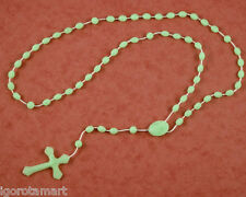New Light Green Glow In Dark Prayer Rosary Luminous Necklace Religious Jewelry
