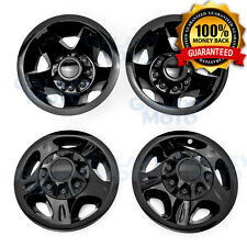 "08-10 Chevy Silverado DUALLY Black 17"" Wheel Simulator Liner+Center Caps Cover"