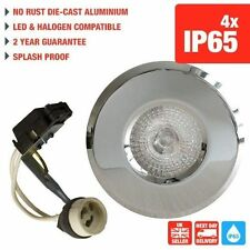 4 X CHROME IP65 DOWNLIGHTS RECESSED BATHROOM SHOWER GU10 SPOTLIGHTS 240V
