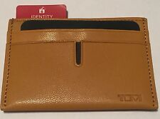 TUMI Men's Yellow Mustard Leather Passcase ID Credit Card Slot Holder Wallet NWT