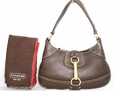 COACH D06S-10284 Hampton Brown Pebbled Leather Baguette Handbag & Storage Bag