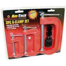 """3PC HEAVY DUTY G-CLAMP SET 2"""" 3"""" & 4"""" c/w SOFT JAW PADS 50mm 75mm 100mm G CLAMPS"""