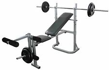 Weight Bench and weight Set Multi Gym 6ft Bar 25kg Cast Plates Leg Extension