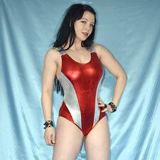 Metallic rojo-plata lackbody * s * distraes * lencería stretchig brillante