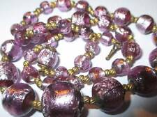 Art Deco Purple Foiled Glass Bead Necklace Venetian or Bohemian