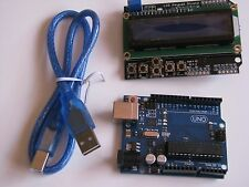 UNO R3 BOARD, LCD BUTTON SHIELD CABLE, ARDUINO COMPATABLE PREPROGRAMMED