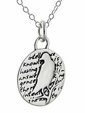 Raven Charm Necklace - 950 Sterling Silver - Handmade Inspirational Pendant NEW