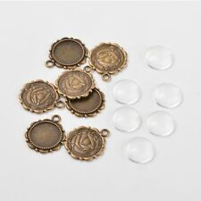 20sets Flower Alloy Pendant Cabochon Cameo Settings Clear Glass Cabochons Craft