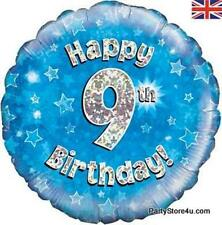 """18"""" BLUE HOLOGRAPHIC FOIL BALLOON """"HAPPY 9TH BIRTHDAY"""" CELEBRATION PARTY"""
