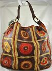 ISABELLA FIORE LARGE BROWN LEATHER HANDBAG TOTE GOLD METALLIC TRIM STONES