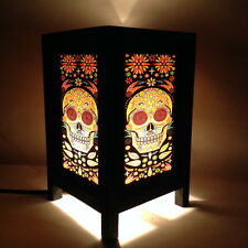 Art Deco Desk Table Lamp Colorful Skull Printing Light Lantern Bedside Lamps