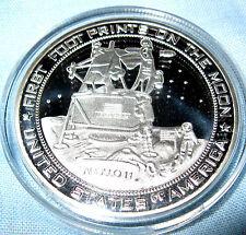 Moon Landing Silver Coin Apollo Lunar Astronauts Armstrong Buzz Aldrin Walking