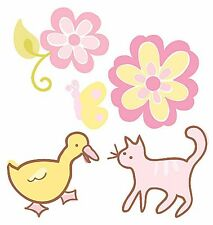 Buterflies Cats Duck Flowers Yellow Pink Flower 25 Wallies Stickers Decals Decor