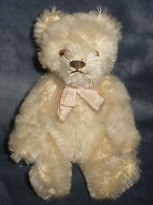 "Antique White STEIFF Teddy Bear 6"" jointed bear w/ pink bow Mohair"