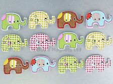 Elephant Fridge Magnets cute strong neodymium painted wood - 4 gift boxed