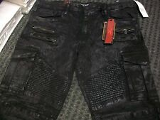 New Men's Jordan Craig Moto Denim Mirror Black Coated Cargo Jean Size 32x32 New!