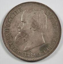 Brazil 1889 2000 REIS Silver Coin Uncirculated Nicely Toned KM-485 Crown Size