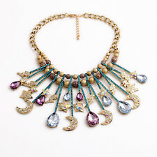 N2509 Double Gold Champagne Crystal Ball Moon and Star Statement Collar Necklace