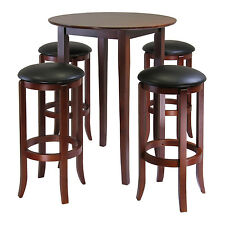 Pub Table And Chairs Set 5 Piece Stools Swivel Barstools Round Wood Bar Dining