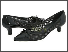 ^$335 NIB Stuart Weitzman Short Stuff Nappa Leather Perforated Pump Black Sz 7,5