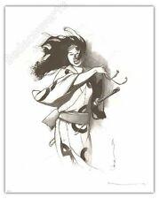 Affiche MICHETZ Geisha Noir et blanc 150ex numéroté signé 40x50 cm