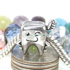 Mr. Tooth and Brush Dental Charm Bead Large Hole Bead fit European Bracelet
