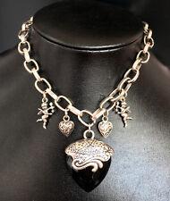Luxus Viennois Herz Halskette Collier Angel Anhänger Kristall Versilbert Neu!
