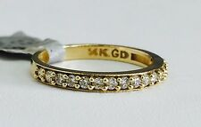 Solid 14K Yellow Gold Cubic Zirconia Wedding Band - Size 7 CZ Semi Eternity Ring