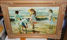 "ART TRENDS ""SEA SHELL SEARCH"" OIL ON CANVAS HUGE SEASCAPE PAINTING UNSIGNED"