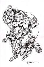 Bob Layton Original Iron Man Marvel Comics Art Sketch ~ Classic & Stealth Armor