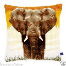 African Elephant Chunky Cross Stitch Cushion Front kit 40x40cm By Vervaco