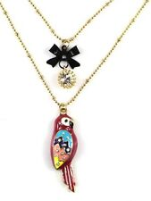 N341 Betsey Johnson Rio Amazon Parrot Macaw Parakeet w/ Bow Necklace US