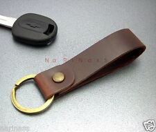 "KEY CHAIN & LEATHER  Brown Loop Key ring 1.5""  (Metal Brass Tone) (#139)"