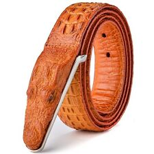 Crocodile Head Luxury Cow Leather Belt Western Rocker Biker Reddish Brown UK