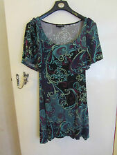 Knee Length Green & Purple Pattern Warehouse Stretch Dress Size 12 Like Paisley